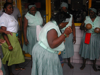 Garífuna women dancing the punta, La Ceiba, Honduras