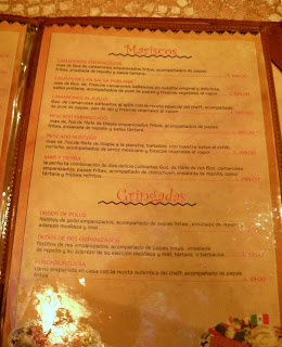 Fogoncito menu