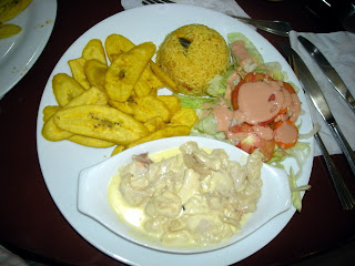 Conch is garlic cream sauce, Kabasa restaurant, La Ceiba, Honduras
