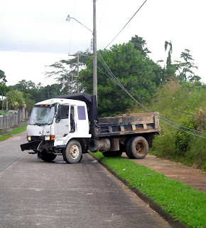 smashed dump truck, La Ceiba, Honduras