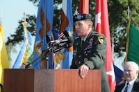 Army Gen. David H. Petraeus, new commander of U.S. Central Command, addresses the audience at the CENTCOM change of command ceremony Oct. 31 at MacDill AFB, Fla.