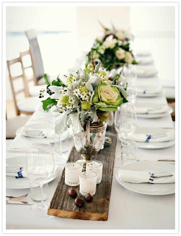 Yesenia 39 s blog i think i 39d have rustic style tables with white bone ch - Decoration table mariage nature ...