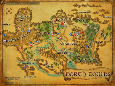 LOTRO North Downs Map