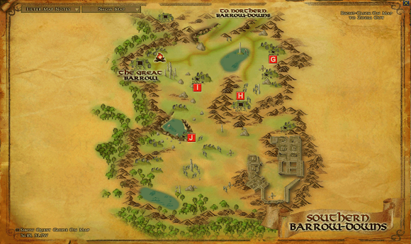 LOTRO Barrow Downs South map