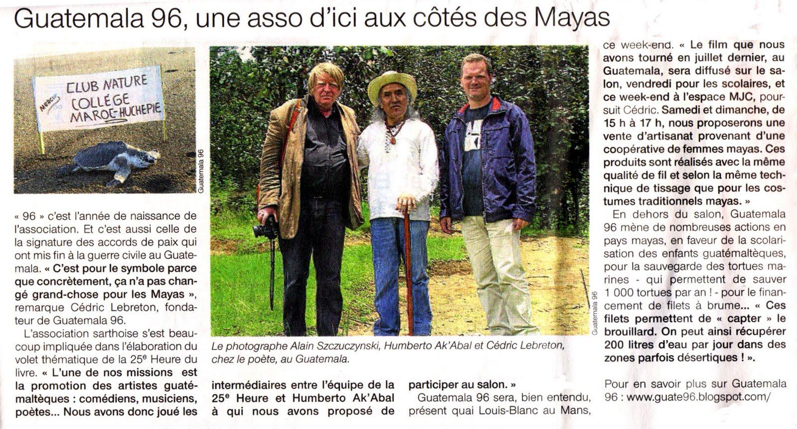 Association guatemala 96 la passion du monde maya salon - Salon du livre du mans ...