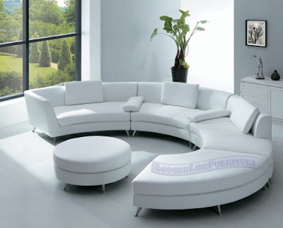 Modern Furniture White Leather Sectional Sofa with Ottoman and Mini Bar table Set2