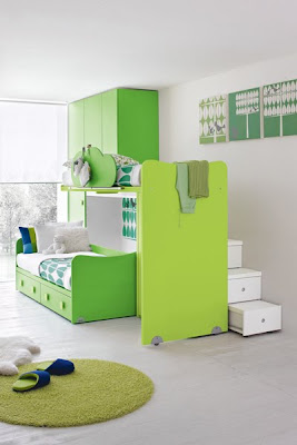 Green kids modern bedroom furniture room designs living-4