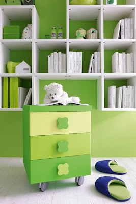 Green kids modern bedroom furniture room designs living-3