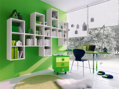 Green kids modern bedroom furniture room designs living-2