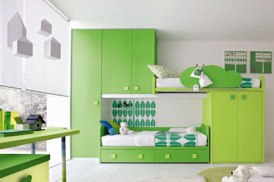 Green kids modern bedroom furniture room designs living-1
