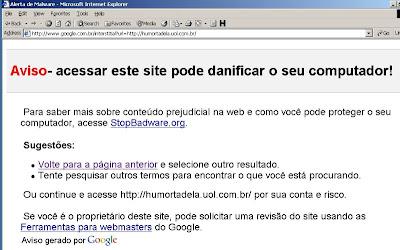 Página de alerta do Google sobre o risco de acessar o endereço www.humortadela.com.br