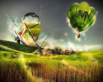 wallpaper fundo de tela com balões e paisagem