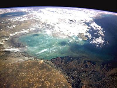 Golfo do México fotografado do espaço pelo ônibus espacial.
