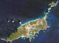 À Altitude de 12 KM,  imagem monstra toda a extensão visível do arquipélago de Noronha, inclusive a Ilha da Rata