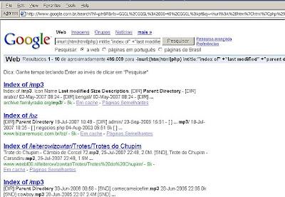 Exemplo de resultado do Google com links ou enlaces para diretórios que contêm música em mp3 para baixar.