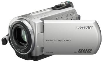 Sony DCR-SR42 vista lateral com visor aberto.