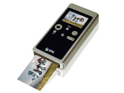 Câmera digital integrada com impressora – ZINK – vista da parte de trás.