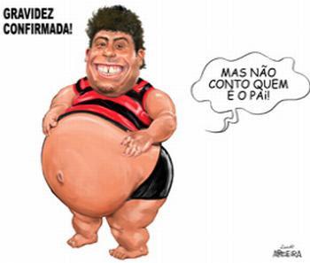 Charge de Aroeira apresenta Ronaldo Fenômeno Grávido.
