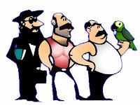 Personagens de piadas: papagaio, português, bicha e judeu.