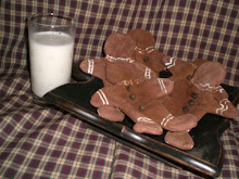 Primitive Folk Art Gingerbread Men Ornies w/ rusty bell buttons - set of 4