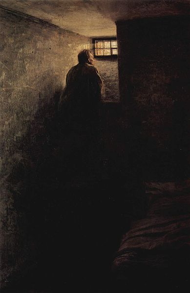 Painting: The Prisoner by Nikolai Alexandrovich Yaroshenko, 1878