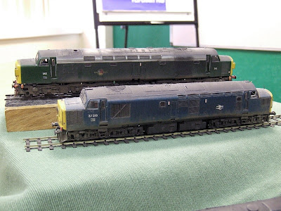 Two locomotives on my demonstration table at Scalefour North 2007.