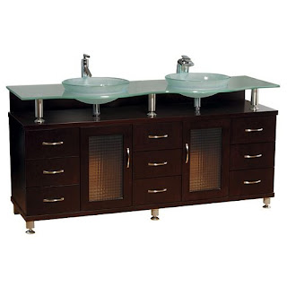 Bathroom Vanity Single Sink on Round Vessel Sinks  Double Sink Vanity With Glass Countertop