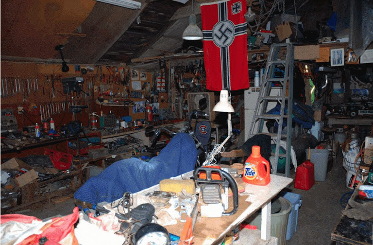 Nazi flag in shed of Wayne Kellestine