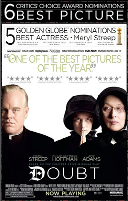 Poster of the movie Doubt, showing the actors Philip Seymour Hoffman, Amy Adams and Meryl Streep
