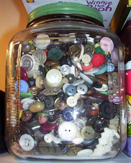 My button jar is filled with assorted vintage buttons.