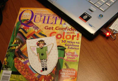 American Patchwork & Quilting Oct 2009 issue and my badge design sew out.
