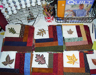 I finished all 56 embroidered leaf blocks for my Autumn Leaf Quilt.