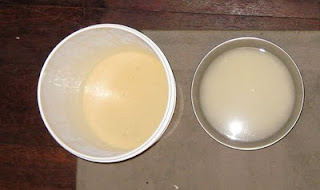 The Sake is on the left, and the rice/water addition is on the right.