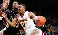 University of Minnesota Gopher Basketball Player on the court at Williams Arena