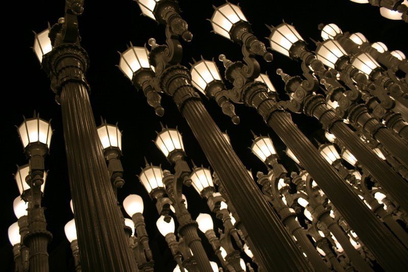 Urban light display los angeles county museum of art los angeles located right outside lacma on wilshire boulevard is a magnificent display of 202 vintage light posts from throughout la at night traffic on wilshire is aloadofball Gallery