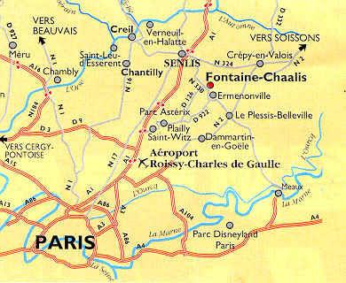 carte routière vers Senlis
