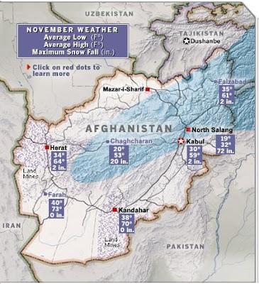 carte météo afghanistan novembre