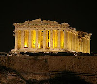 parthenon by night
