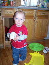 connor playing in the kitchen