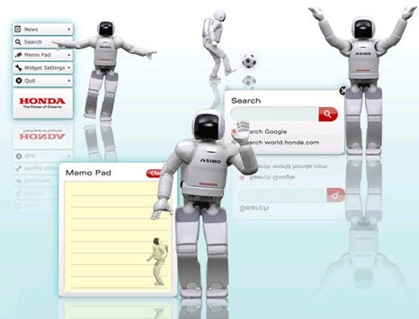 Asimo Widget: ASIMO comes to your desktop!