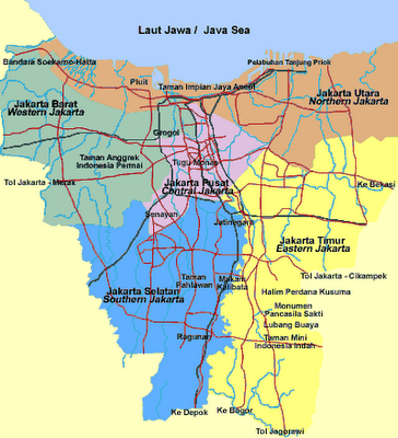 Peta Jalan Kota DKI Jakarta Terbaru Lengkap,Map of Jakarta Indonesia