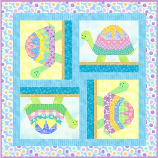 Turtle - paper piecing quilt block pattern by Piece By Number