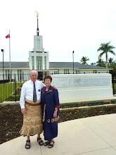 Elder & Sister Hawley at Nuku'Alofa Tonga temple