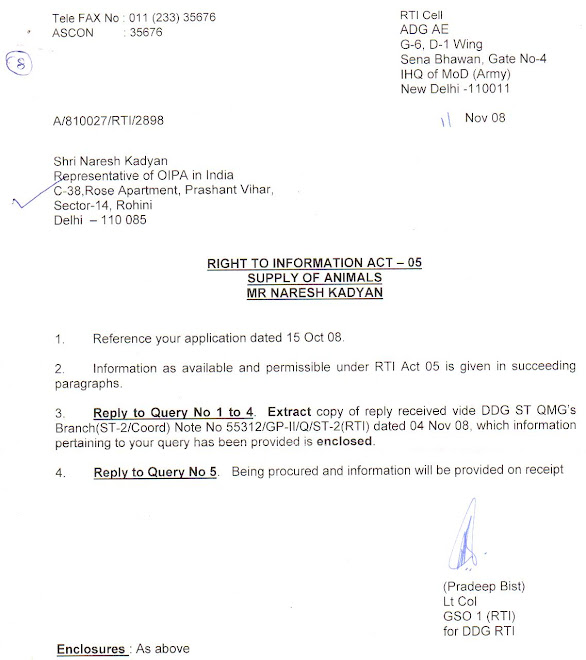 INDIAN ARMY REPLIED TO NARESH KADYAN - OIPA