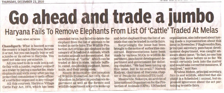 Ban Jumbo trade in Haryana