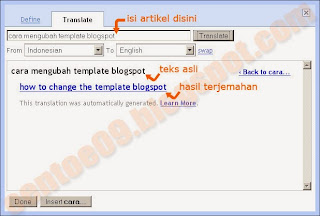 bloger in draft news, translate tools on blogspot, tool penterjemah untuk blogspot
