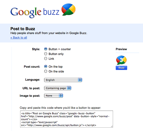 Official Google Buzz Buttons
