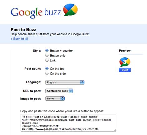 Official Google Buzz Buttons