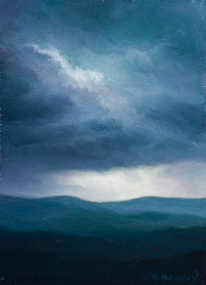 oil painting of storm over Schoodic Mountain, Maine by artist Colin Barclay