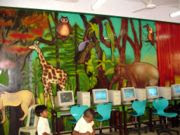 a picture of a classroom that is decorated in safari animals